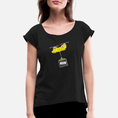 Rescue Helicopters Rescue approaches. The schnapps helicopter is coming. - Women's T-Shirt with rolled up sleeves