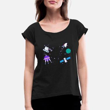Satellite Spacecraft satellites in the universe Astro - Women's Rolled Sleeve T-Shirt