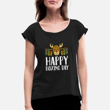 Boxing Day Happy Boxing Day Reindeer Presents Christmas Box - Women's Rolled Sleeve T-Shirt