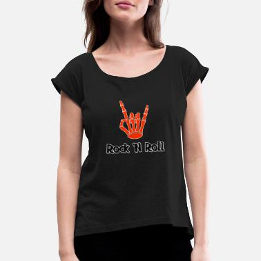 Bones Rock 'n' Roll Rock and Roll Sign Bone Gift - Women's Rolled Sleeve T-Shirt