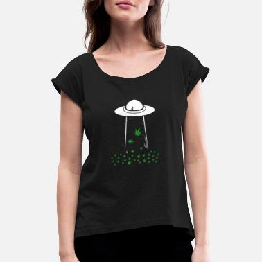 Weed Ufo | 420 Alien Peace Cannabis Grass Gifts - Women's Rolled Sleeve T-Shirt
