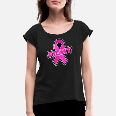 Think Pink Breast Cancer Fight Ribbon Breast Cancer Ribbon - Women's Rolled Sleeve T-Shirt