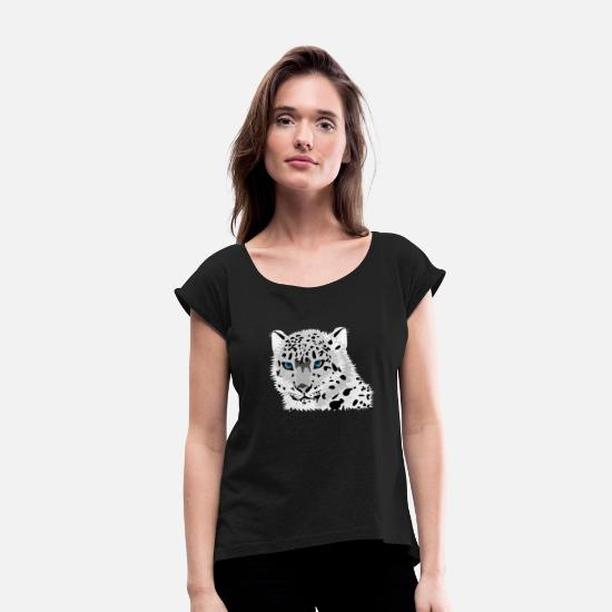 Gift Idea T-Shirts - leopard - Women's Rolled Sleeve T-Shirt black