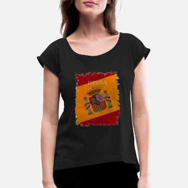 Nationalfarben Nationalfarben Spanien - Frauen T-Shirt mit gerollten Ärmeln