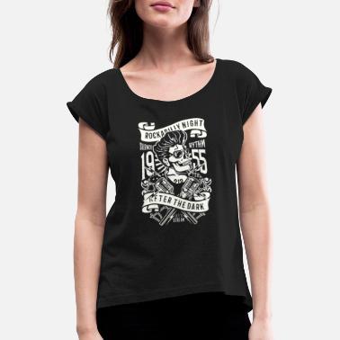 61162ccf41abe Calavera Rockabilly Noche de Rockabilly - Camiseta con manga enrollada mujer