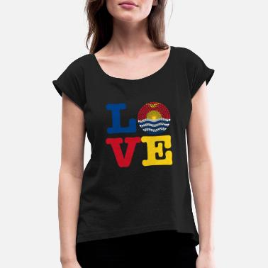 Kiribati KIRIBATI HEART - Women's Rolled Sleeve T-Shirt