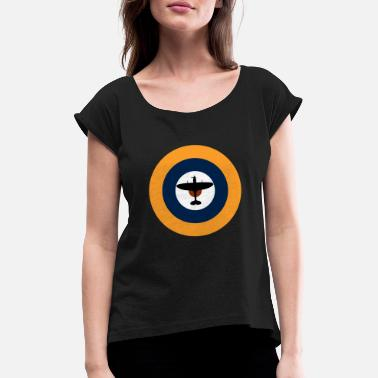 Royal Air Force Spitfire on the Royal Air Force roundel. - Women's Rolled Sleeve T-Shirt