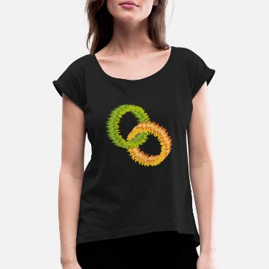 Two intertwined floral rings in green and orange - Women's Rolled Sleeve T-Shirt