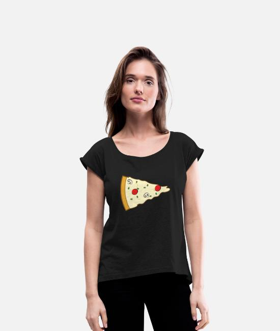Pizza T-Shirts - Pizza Couple (Part 2) - Women's Rolled Sleeve T-Shirt black