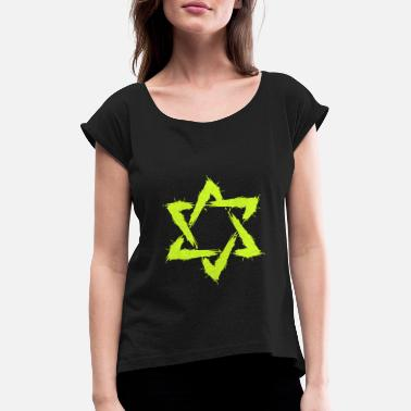 Shape Star of David Icon Design Brush New Yellow - Women's Rolled Sleeve T-Shirt