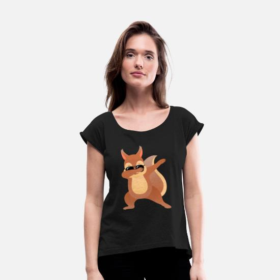 Birthday T-Shirts - Dabbing Squirrel Dab With Sunglasses - Cool Gift - Women's Rolled Sleeve T-Shirt black