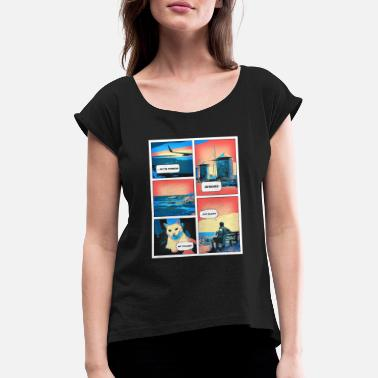 Strip Comic Book Vacation - Holidays, Cat, Why - Women's Rolled Sleeve T-Shirt
