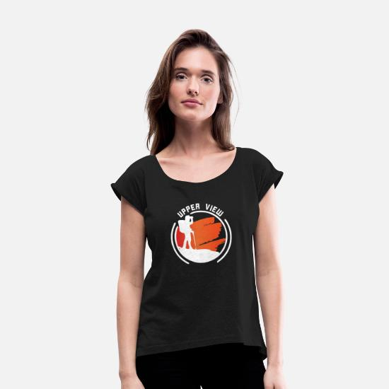 Gift Idea T-Shirts - Upper View - Women's Rolled Sleeve T-Shirt black
