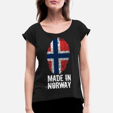 Norge Made In Norge / Norge / Norge / Noreg - T-skjorte med rulleermer for kvinner