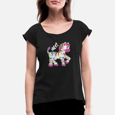 3fd64fe75ca02 Enfants Zèbre Idée cadeau pour enfants en zèbre coloré - T-shirt à manches  retroussées