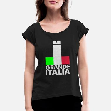Football Underwear Italia Italy flag - grande italia - provocative - Women's Rolled Sleeve T-Shirt