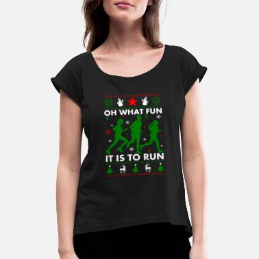 Runners christmas runner long - Women's T-Shirt with rolled up sleeves