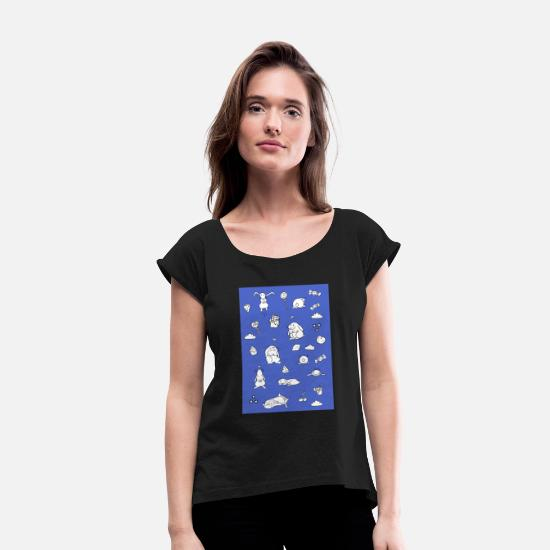 Master Lamp T-Shirts - Rabbits - Women's Rolled Sleeve T-Shirt black