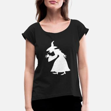 Icon Witch Walpurgis Night witch broom hook nose hat - Women's Rolled Sleeve T-Shirt
