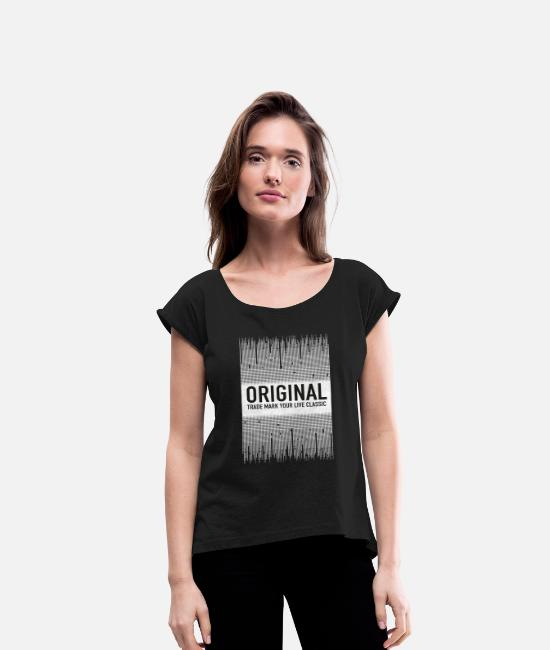 Text T-Shirts - ORIGINAL - Women's Rolled Sleeve T-Shirt black