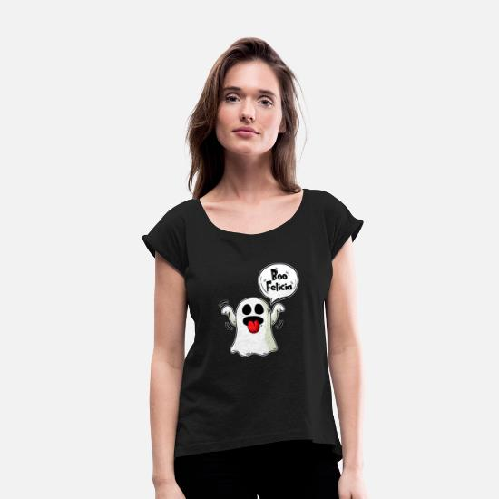 Zombie Apocalypse T-Shirts - Boo Felicia Ghost Balloon Halloween Gift - Women's Rolled Sleeve T-Shirt black