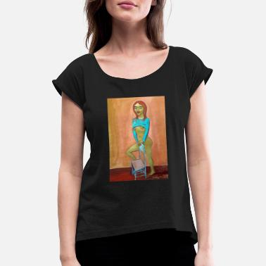 Rockgirl elf girl - Women's T-Shirt with rolled up sleeves