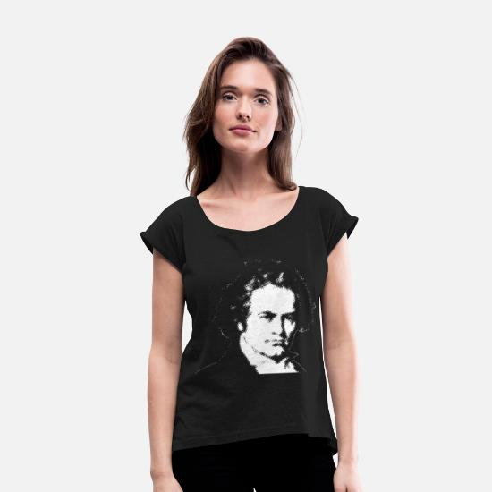 Birthday T-Shirts - Beethoven - Women's Rolled Sleeve T-Shirt black