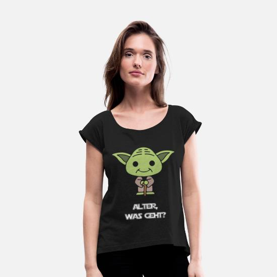 Age T-Shirts - age is yoda - Women's Rolled Sleeve T-Shirt black