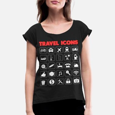 Icon Icons for travel and tourism to communicate - Women's Rolled Sleeve T-Shirt