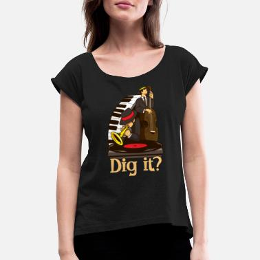 Latin Jazz Street Jazz Jam Session Jazz Lover Design - Women's Rolled Sleeve T-Shirt