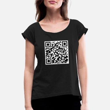 Qr QR Code T-Shirt | Funny Cool Funny Funny Scan - Women's Rolled Sleeve T-Shirt
