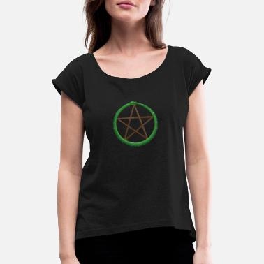 Druid Pentagram serpent - Women's Rolled Sleeve T-Shirt