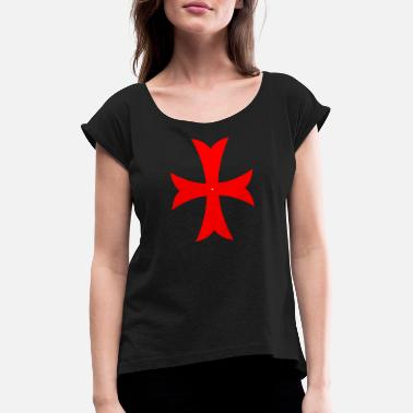 Cross - Knights - Crusaders - Faith - Christian - Women's Rolled Sleeve T-Shirt