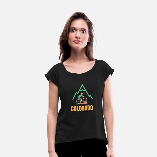 Colorado T-Shirts - Colorado Mountain Bike - Women's Rolled Sleeve T-Shirt black