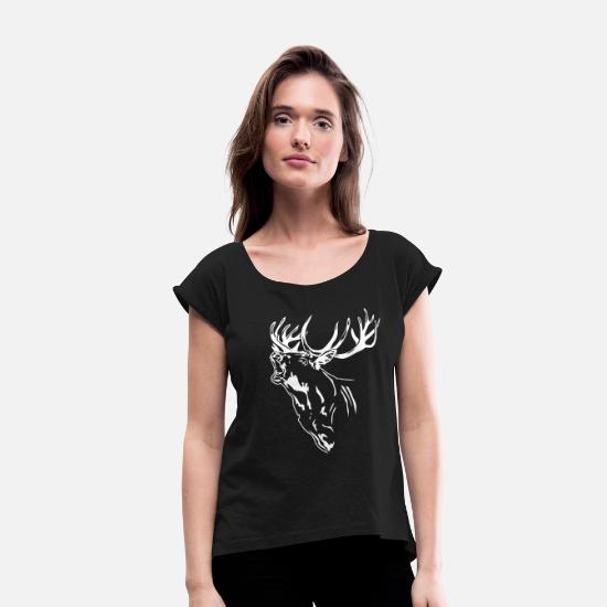Stag T-Shirts - Deer - Antlers - Deer - Deer - Hunt - Women's Rolled Sleeve T-Shirt black