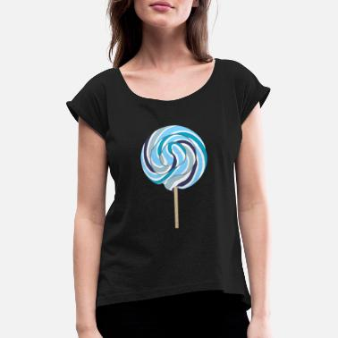 Stalk Blue lollipop with stalk - Women's Rolled Sleeve T-Shirt