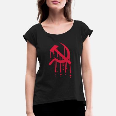 Blood Hammer sickle blood - Women's Rolled Sleeve T-Shirt