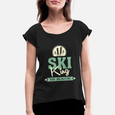 Present Ski Skiing Skiing Skiing Winter sports - Women's Rolled Sleeve T-Shirt