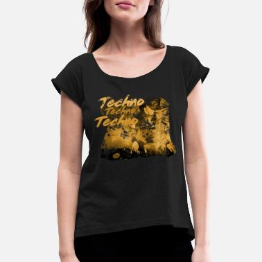 Techno Bass Techno, techno music, dj, techno bass, raver, disco, - Women's Rolled Sleeve T-Shirt