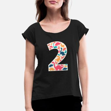 Number 2 - Two Years Birthday Dino Dinosaur T Rex - Women's Rolled Sleeve T-Shirt