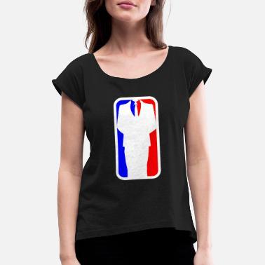 bc006770a601 Sakko Geschäftsmann Logo - Frauen T-Shirt mit gerollten Ärmeln