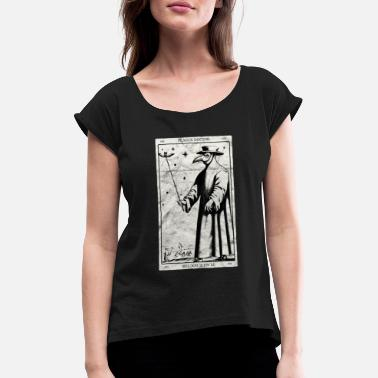 Geometry Plague Doctor Occult Black Death Tarot Card - Women's Rolled Sleeve T-Shirt