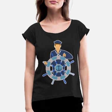 Taxe Man Sailor anchor tax boat sailor comic gift - Women's T-Shirt with rolled up sleeves