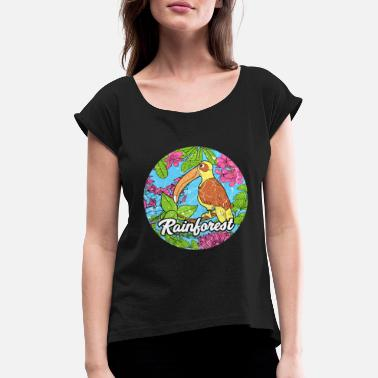 Rainforest tropics environmental protection pelican jungle - Women's Rolled Sleeve T-Shirt