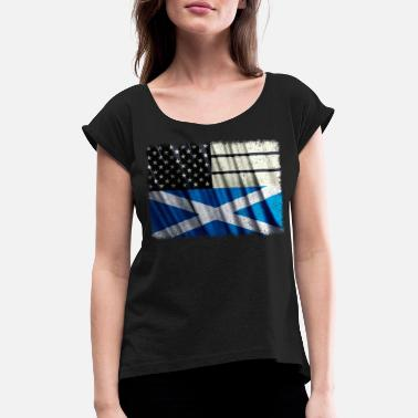 Scottish Roots Scottish American T Shirt Scottish American Flag - Women's T-Shirt with rolled up sleeves