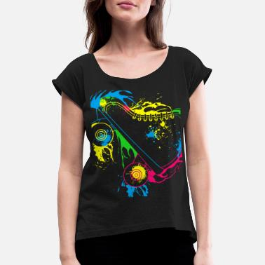 Roller Colored Roller Skates - Women's Rolled Sleeve T-Shirt
