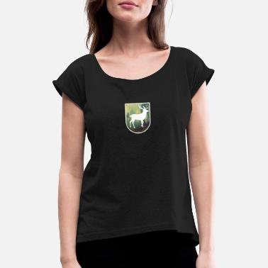 Patches Hunter-patch - Vrouwen T-shirt met opgerolde mouwen