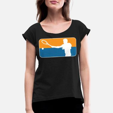 Tennis player silhouette tennis - Women's Rolled Sleeve T-Shirt