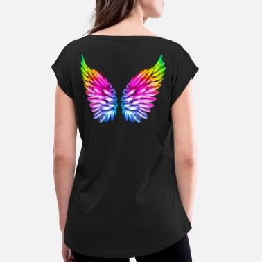 Angel LGBT Angel Wings Angel Wings Colorful Rainbow - Women's Rolled Sleeve T-Shirt