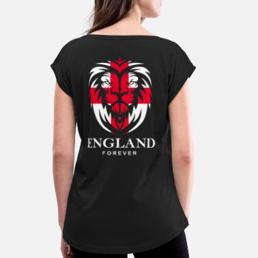 Cross ENGLAND LIONHEAD WITH ST. GEORGE CROSS - Women's Rolled Sleeve T-Shirt